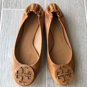 Tory Burch Reva tumbled leather flats in royal tan